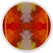 Circles Making Love Abstract Circular Artwork By Omaste Witkowsk Round Beach Towel