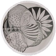 Circles Of Zen Tangle Round Beach Towel