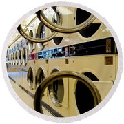 Circular Doors On Laundromat Washing Machines Round Beach Towel