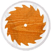 Circular Saw Blade With Pine Wood Texture Round Beach Towel by Stephan Pietzko
