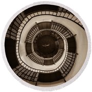 Circular Staircase In The Granitz Hunting Lodge Round Beach Towel
