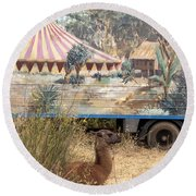 circus circus 2 - A vintage circus wagon with african paint and llama camel  Round Beach Towel
