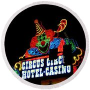 Circus Circus Sign Vegas Round Beach Towel