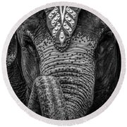 Circus Elephant Round Beach Towel by Bob Orsillo