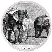Circus Elephants, 1884 Round Beach Towel