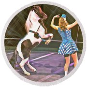 Circus Pony Round Beach Towel