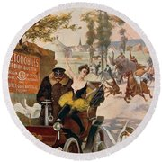 Circus Star Kidnapped Wilhio S Poster For De Dion Bouton Cars Round Beach Towel