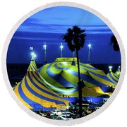 Circus Tent Swirls Of Blue Yellow Original Fine Art Photography Print  Round Beach Towel