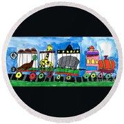 Circus Train Round Beach Towel by Max Kaderabek Age Eight