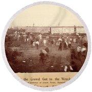 Circus Train Wreck, 1896 Round Beach Towel