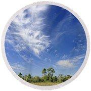 Cirrus Clouds  Round Beach Towel