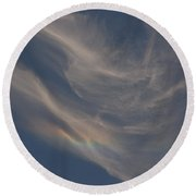 Cirrus Rainbow Cloud Round Beach Towel
