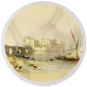 Citadel Of Sidon Round Beach Towel