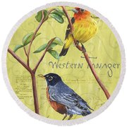 Citron Songbirds 2 Round Beach Towel