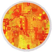 Citrus Circuitry Round Beach Towel