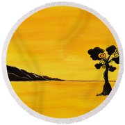 Citrus Sunset Round Beach Towel