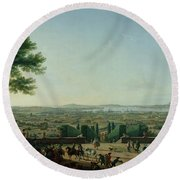 City And Port Of Toulon, 1756 Oil On Canvas Round Beach Towel