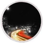 City And The Moon Round Beach Towel
