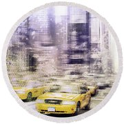 City-art Times Square I Round Beach Towel
