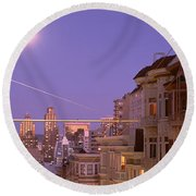 City At Night, San Francisco Round Beach Towel