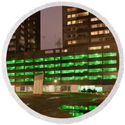 City At Night Urban Abstract Round Beach Towel