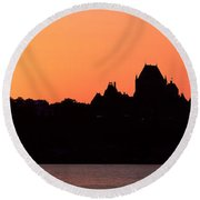 City At Sunset, Chateau Frontenac Round Beach Towel