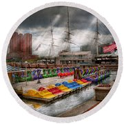 City - Baltimore Md - Modern Maryland Round Beach Towel by Mike Savad