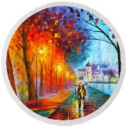 City By The Lake Round Beach Towel