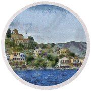 City By The Sea Round Beach Towel by Ayse Deniz