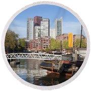 City Centre Of Rotterdam In Netherlands Round Beach Towel