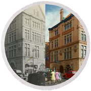 City - Chattanooga Tn - 1943 - The Masonic Temple - Both Round Beach Towel