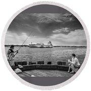 City Fishing Round Beach Towel by Bob Orsillo