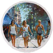 City Girls Round Beach Towel