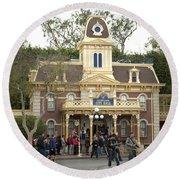 City Hall Main Street Disneyland Round Beach Towel