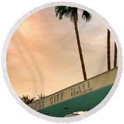 City Hall Sky Palm Springs City Hall Round Beach Towel