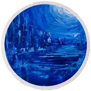 City In Blue Round Beach Towel
