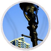 City Lamp Post Round Beach Towel by Karol Livote
