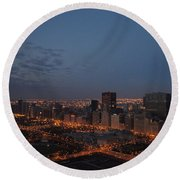 City Lights At Dawn Round Beach Towel
