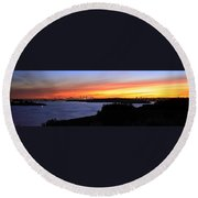 City Lights In The Sunset Round Beach Towel