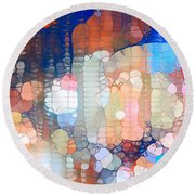 City Lights Urban Abstract Round Beach Towel