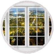City Lights White Window Frame View Round Beach Towel
