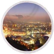 City Lit Up At Night, Esslingen Round Beach Towel