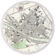 City Map Or Plan Of Florence Or Firenze Round Beach Towel