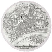 City Map Or Plan Of Frankfort Germany Round Beach Towel