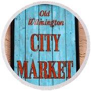 City Market Sign Round Beach Towel