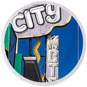 City Motel Las Vegas Round Beach Towel