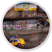 City - New York - Greenwich Village - Life's Color Round Beach Towel