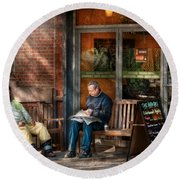 City - New York - Greenwich Village - The Path Cafe  Round Beach Towel by Mike Savad