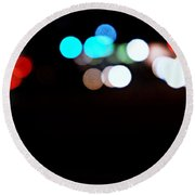 City Night Lights Round Beach Towel