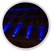 City Night Walks - Blue Highlights Facade Round Beach Towel